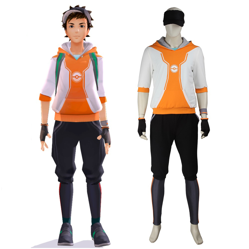 Men's Pokemon Go Trainer Orange Team Valor Instinct Mystic Cosplay Costume