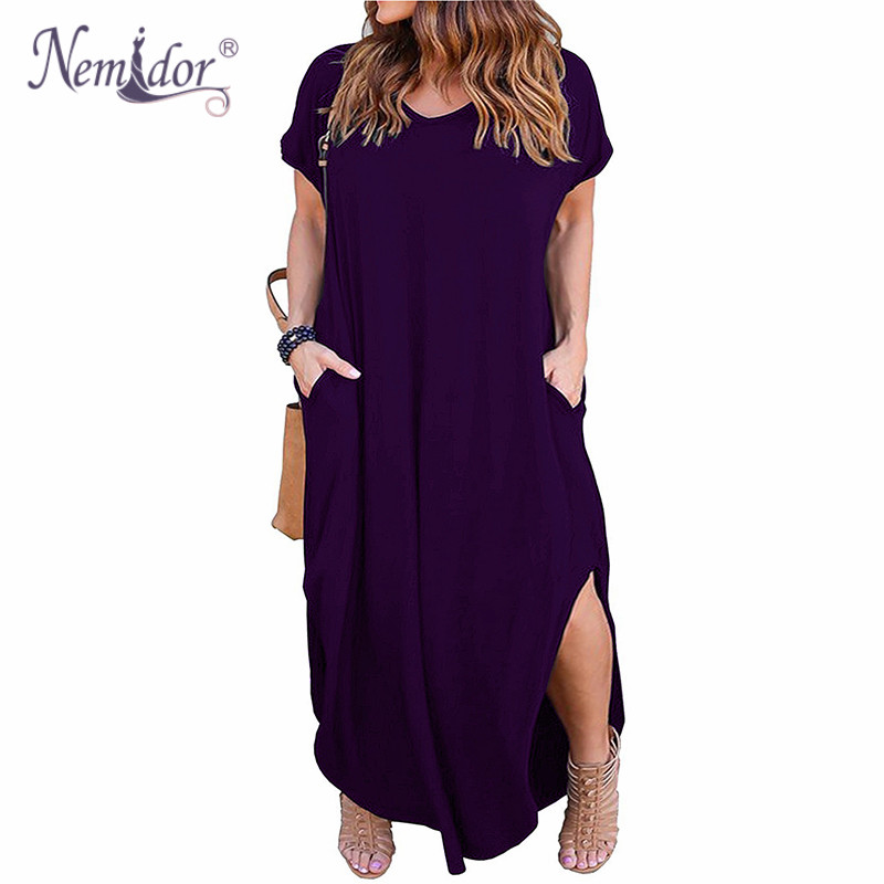 Nemidor Women Short Sleeve V-neck Front Pocket Loose Casual Dress Plus Size 8XL 9XL Party Slit Long Maxi Dress