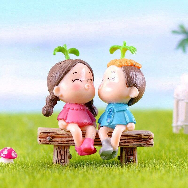 2 Type miniature Fairy Dollhouse Paysage Jardin Figurine décoration couple poupée