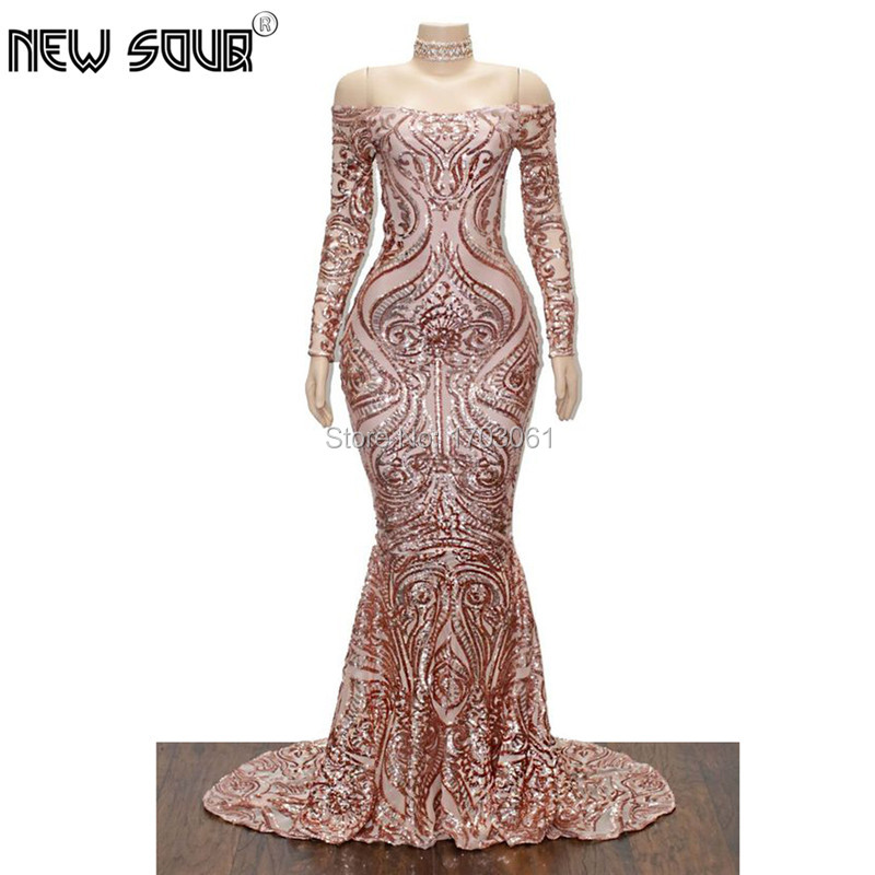 Dubai Design New Mermaid Evening Dresses With Strapless 2019 Robe de soiree Formal Prom Gowns Muslim Sequins Long Dress Arabic