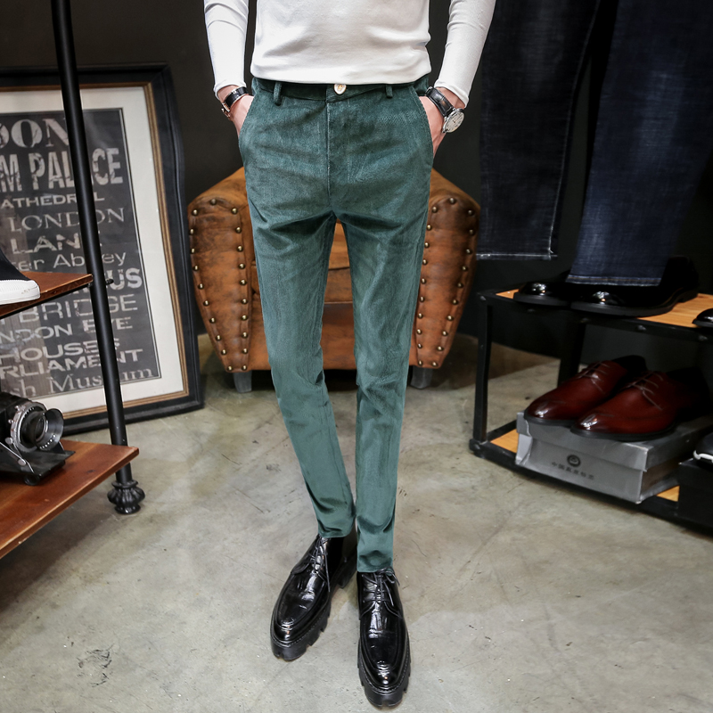 2019 new men's night slim slim corduroy casual feet Korean version of the trend of elastic hair stylist wild trousers