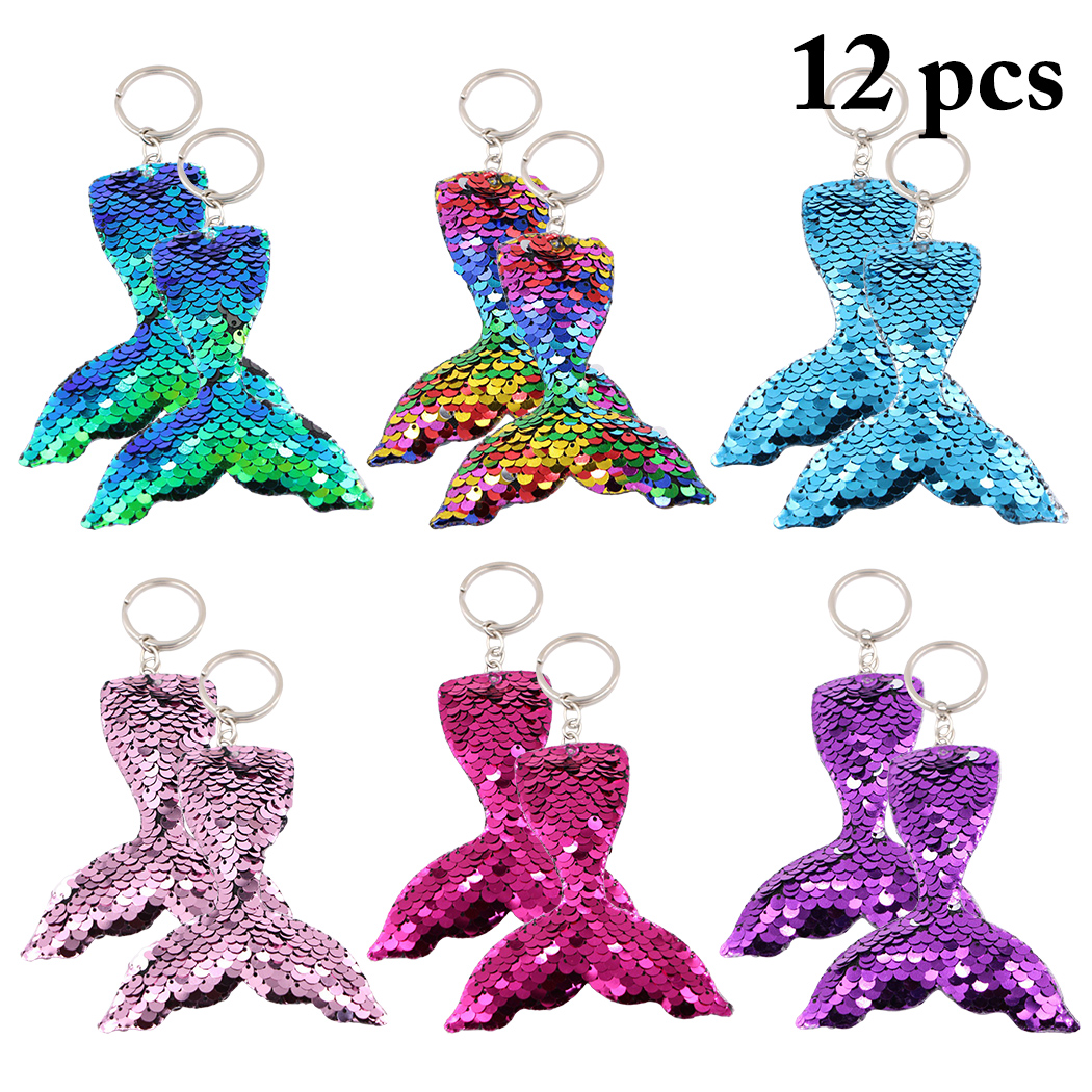 12pcs Colorful Sequins Mermaid Tail Keychain Charms Paillette Pendants Fish Keyring DIY Mermaid Keychain Jewelry Accessories