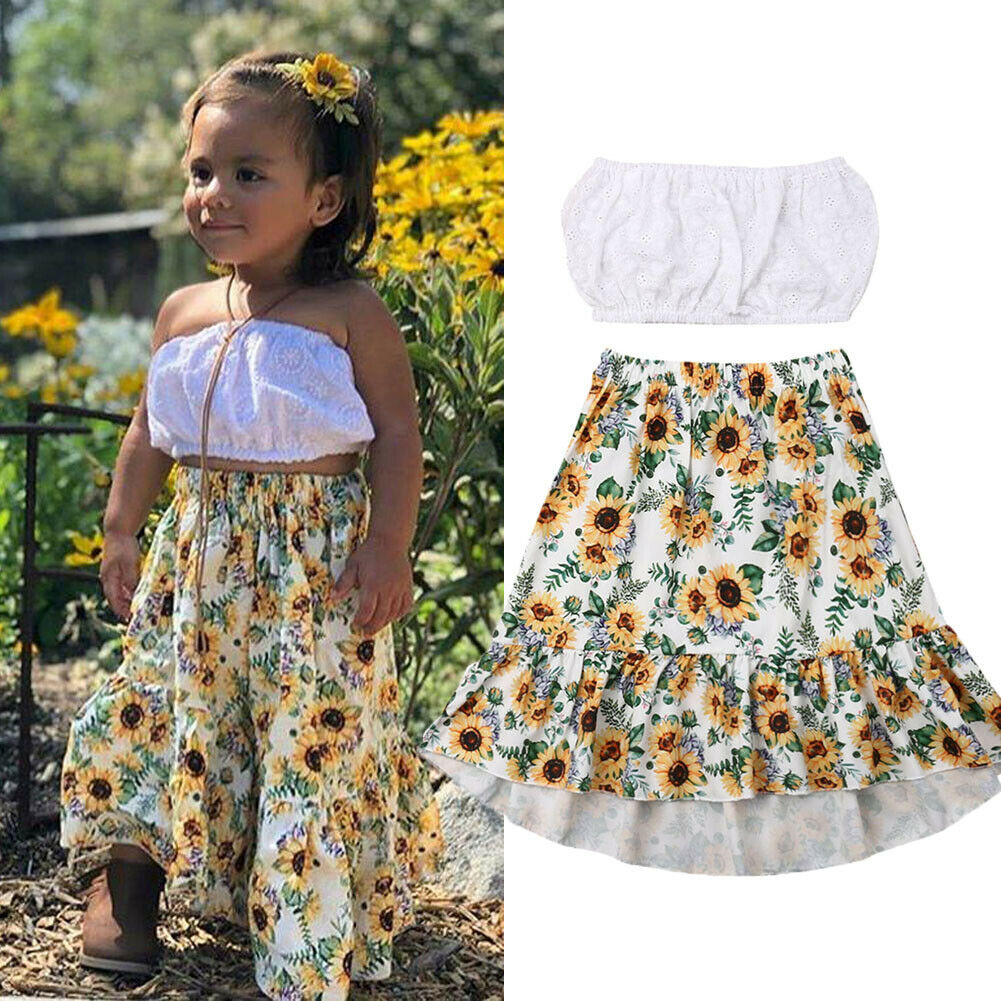 Girls Kids Summer Sleeveless Vest Tops Floral Skirt Clothes Set Outfits 2-7Y