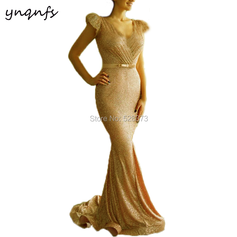 YNQNFS Bling Sequins Gold Gown Elegant Cap Sleeves Mermaid Vestido Formal Dress Mother of the Bride Dresses MD361