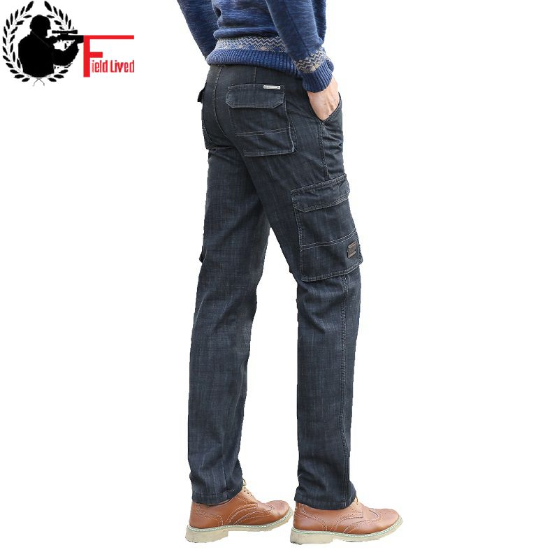 Winter Mens Fleece Lined Jeans Black Side Pocket Military Denim Trousers Thick Plus Velvet Cashmere Straight Fit Cargo Pant Male