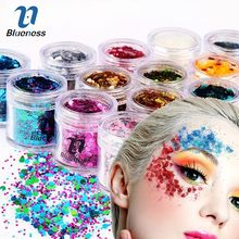 Blueness 15 Colors Hybrid Sequins Eyeshadow Beauty Dazzling Dance Party  10g Box Glitter Nail Face Eye Shadow Tattoo Makeup 17efee20ef6d