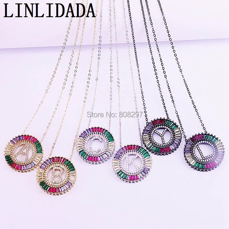 6Pcs Gold/Black//Silver Color Copper Micro Pave Rainbow Cubic Zirconia A-Z 26 Letters Necklace Charm