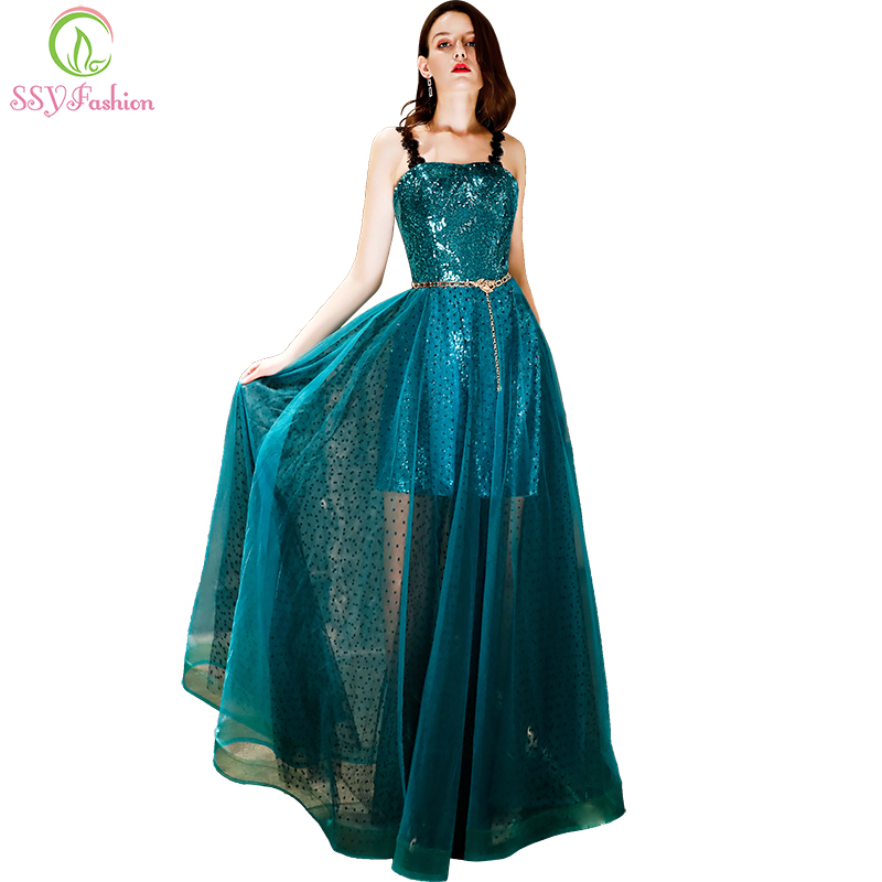 SSYFashion New Evening Dress Shining Dark Green Sequins Sleeveless Prom Gown Sexy Formal Dresses Robe De Soiree Reflective Dress