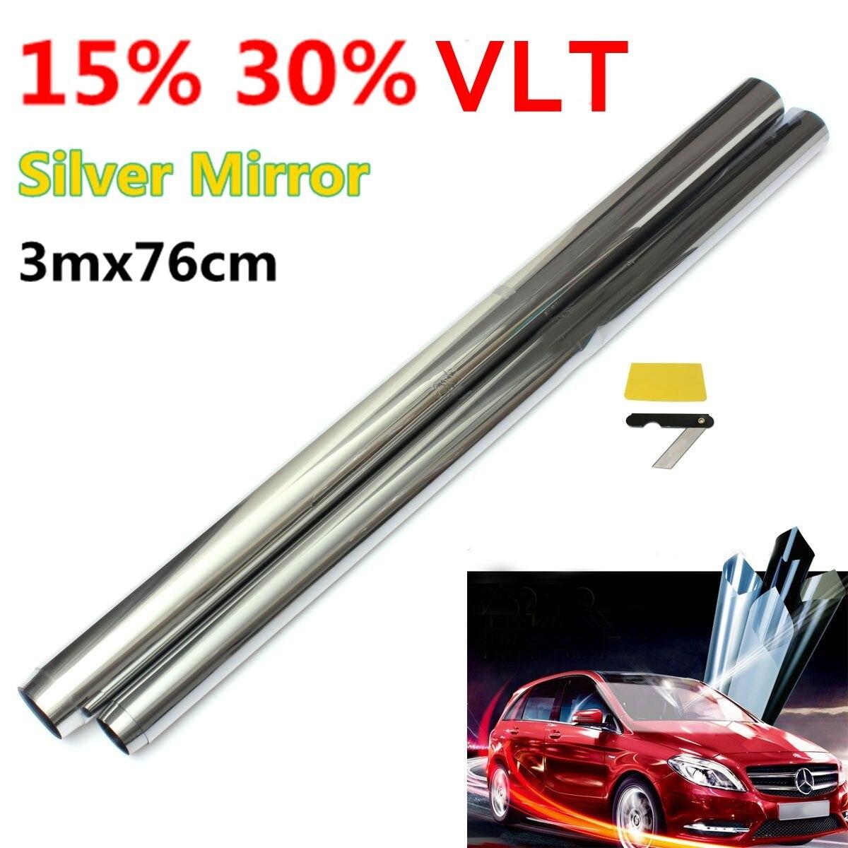 6M x 50cm Car Auto Van Chrome Silver Window Tint Film One Way Mirror Tinting Foil