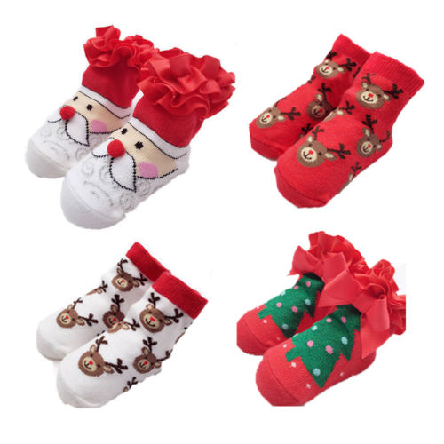 Kids Boys Girls Winter Indoor Xmas Christmas Santa Slippers Faux Fur 3D Boots