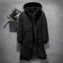Heren Hooded Extra Lange Eendendons Gewatteerde Jassen Man Dikke Winter Down Jassen Man Fashion Lange Overjas Warm Houden Bovenkleding(China)