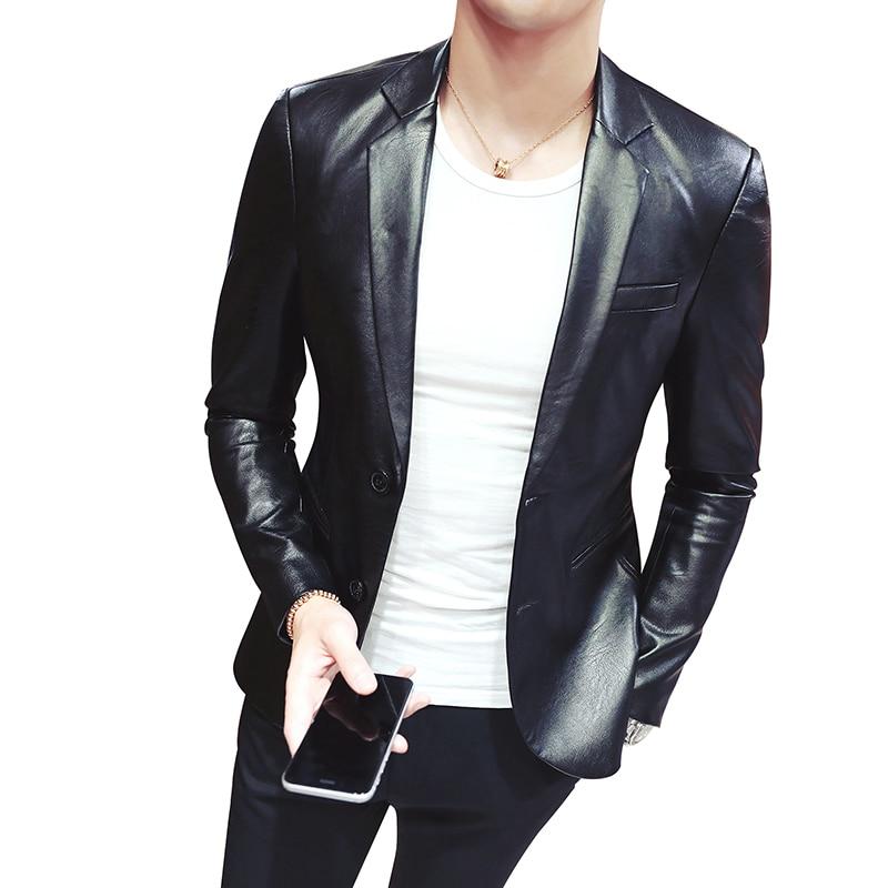 Chic Formal Mens Classic Blazer Pu Leather Slim Lapel Jacket Coat Snake Skin New