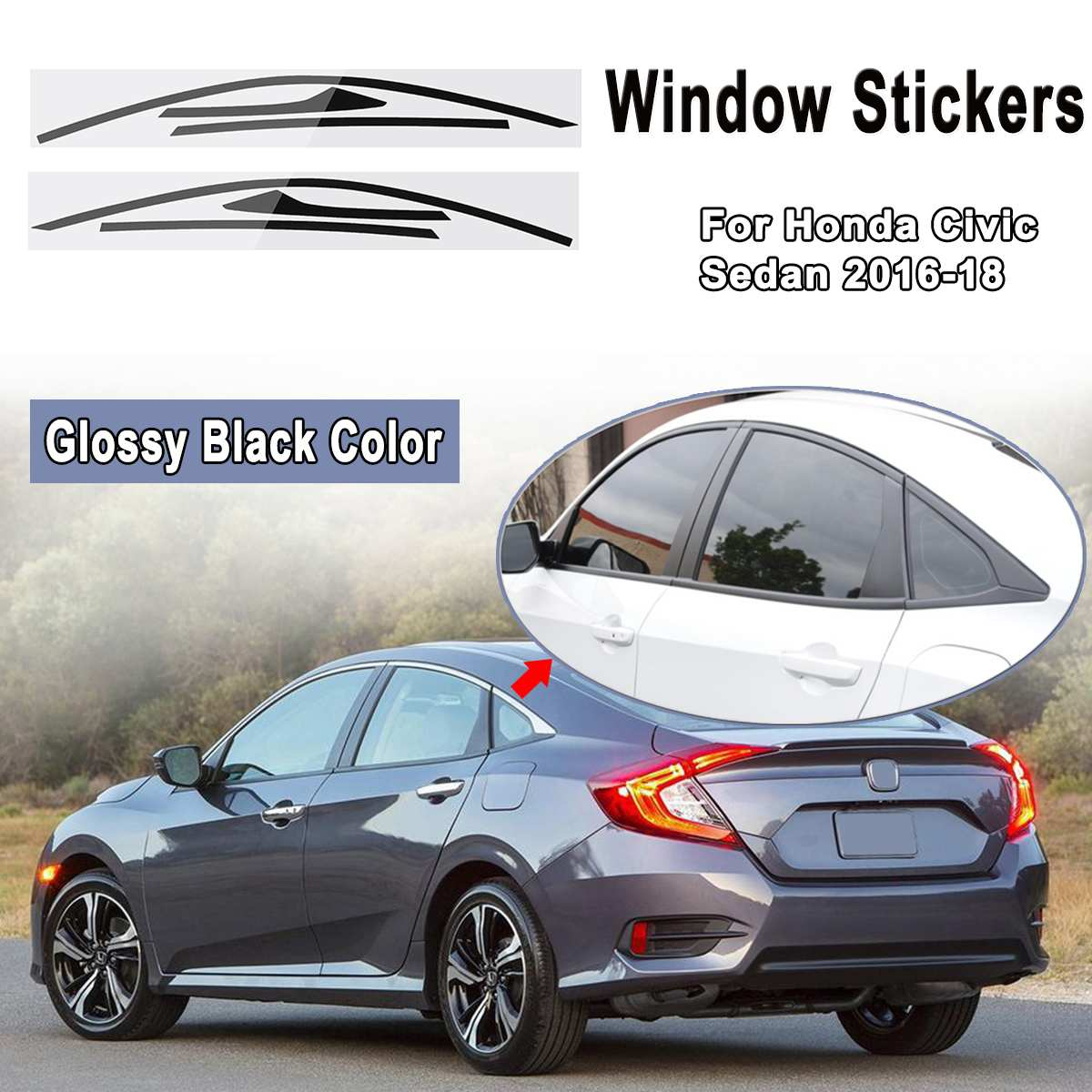 2016-2018 Honda Civic Hatchback Chrome Trim Blackout Overlay