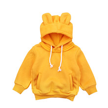 Newborn Toddler Kid Baby Boy Girl Mickey Mouse Ears Hoodies Tops Solid Soft Cotton Warm Coat Sweatshirt Outfits(China)