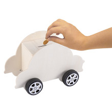 1PC Children DIY Projects Piggy Bank Toys Wooden Car Coin Bank Educational Toys Money Saving Box for Kids Toys(China)
