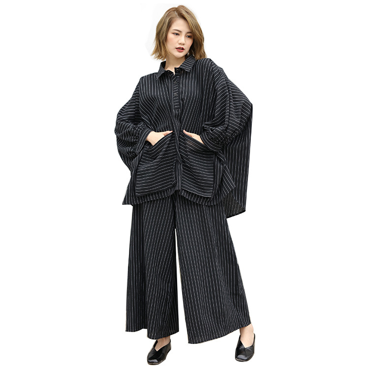 Spring Plus Size Striped Two Pieces Set Big Pocket Coat   Wide Leg Pants Two Pieces Sets Loose Casual Suit Female