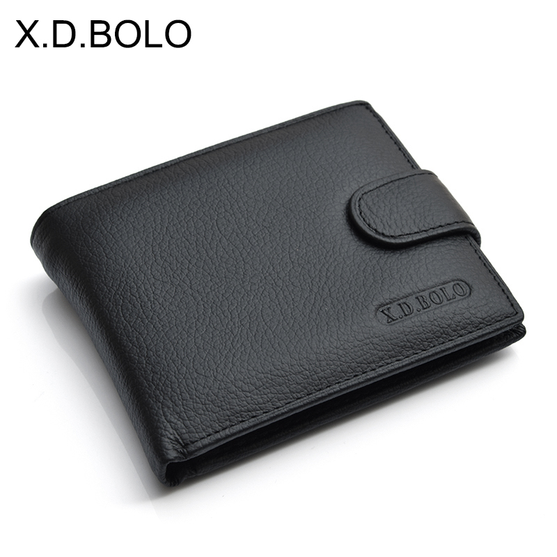 X.D.BOLO Wallet Men Leather Genuine Cow Leather Man Wallets With Coin Pocket Man Purse leather Money Bag Wallets for Male(China)