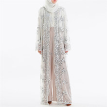 2018 Abaya Dubai Luxury High Class Sequins Muslim Dress Embroidery Lace  Ramadan Kaftan Islam Kimono Women 8735369381fa