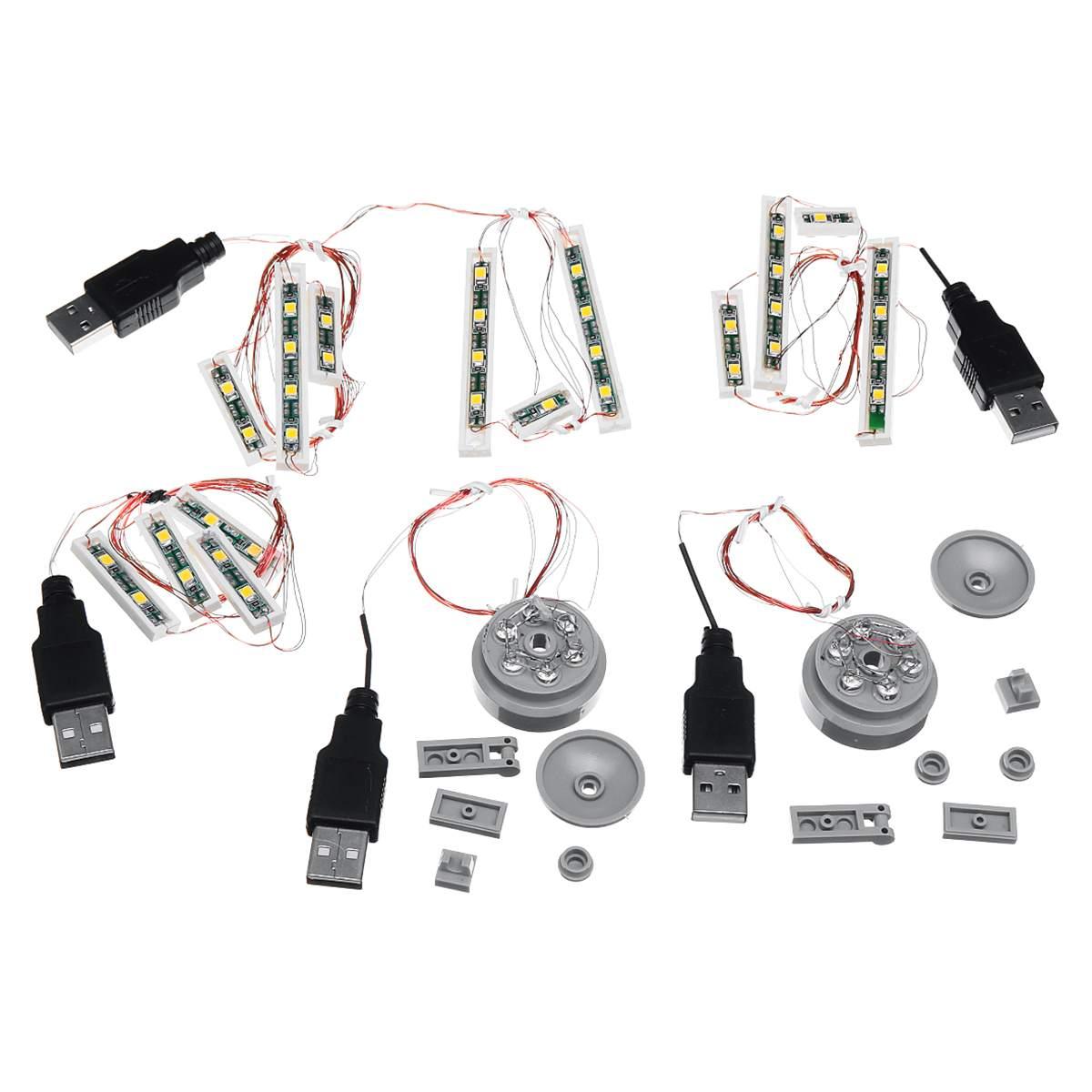 Universal 4 LED Round Light Lighting Lamp Kit For Lego Toy Bricks USB Port !