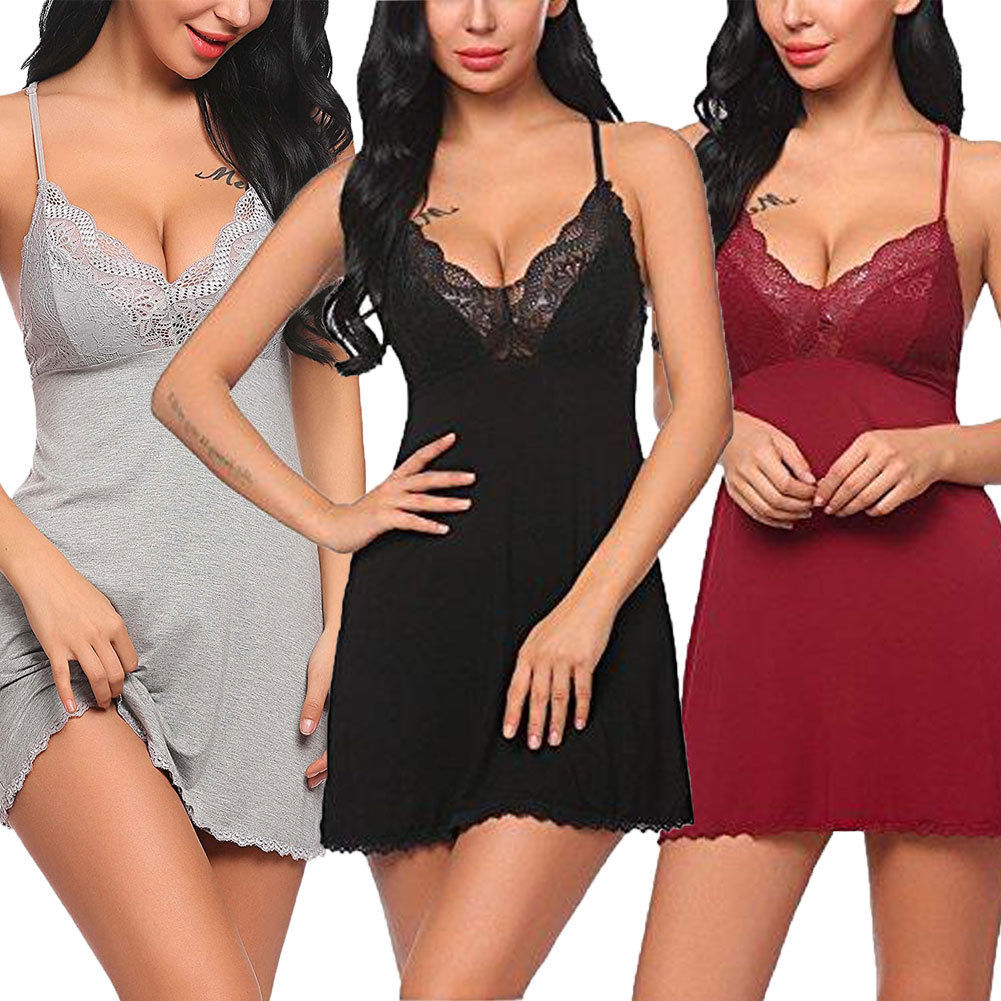 Sexy Womens Lace Floral Nightdress Dtrap Deep V Neck Lingerie Hot Ladies Sleepwear Dress Robe Nightie Gown Sleepshirts(China)