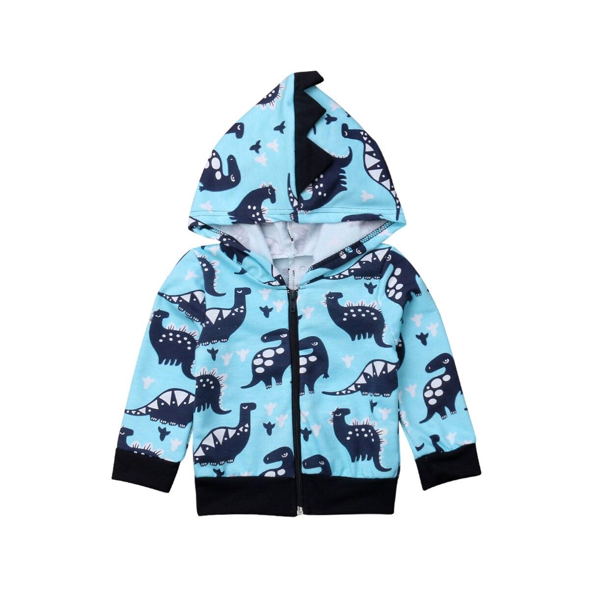 Adorable Newborn Baby Boys Dinosaur Long Sleeve Jacket Toddler Zip-up Hoodie Tops Sweatshirt Outwear