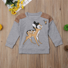 Baby girl Hoodies Tops Autumn Spring Cartoon Print Sweatshirts kid  baby girl clothes Full Sleeve Top Cotton Outfits(China)