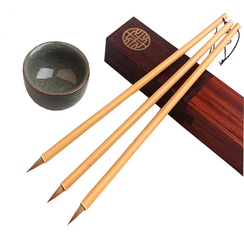 EZONE 1PC Classical Writing Brush For Chinese Ink Watercolor Oil Painting Weasel Hair Hook Line Pen Calligraphy Practice Supply