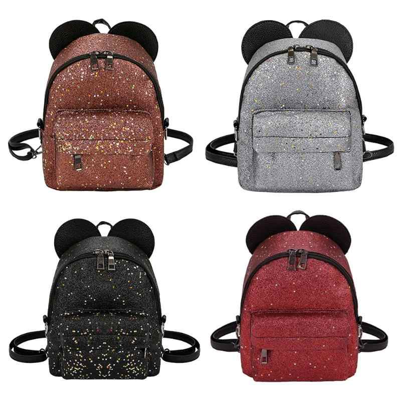 b3de3d163e8f Women Shining Sequins PU Leather Small Backpacks Cute School Bags Girls  Princess Shoulder Bag 2018 New