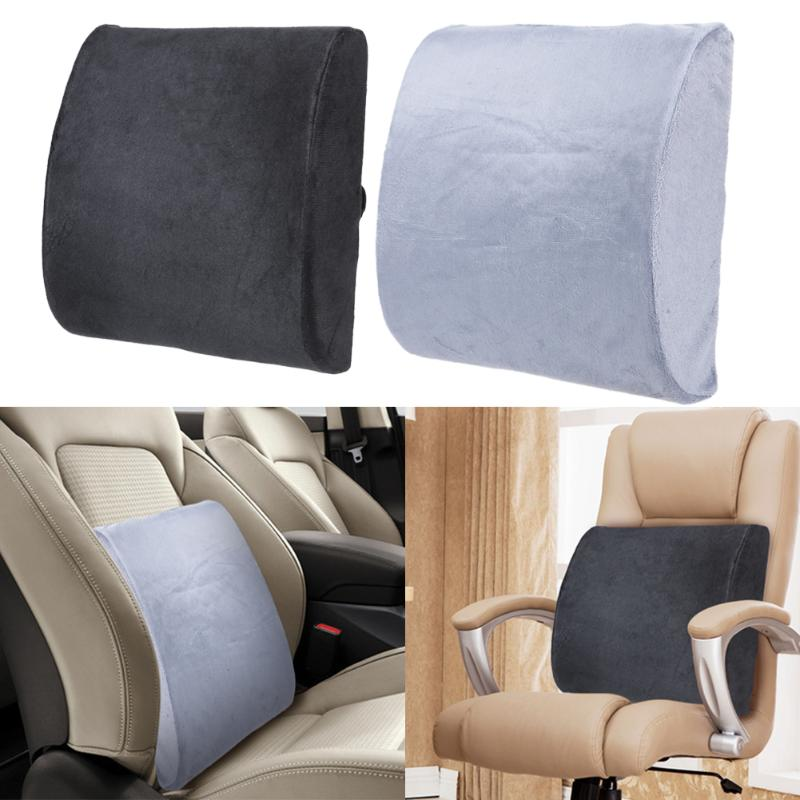 Grey Pillow Seat Back Pain Support Booster Cushion Car Lumbar Lower Back Ache