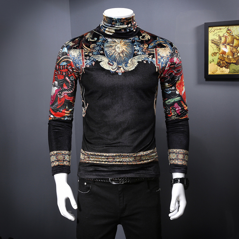 2019 The New Real print vintage T-shirt men Autumn Winter velvet luxury thicken T-shirt Men plus size