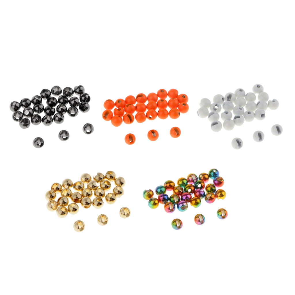 25pcs Tungsten Slotted Fly Tying Head Beads Nymph Head Ball Beads Fly Tying Materials 2//2.4//2.8//3.3//3.8//4.6mm