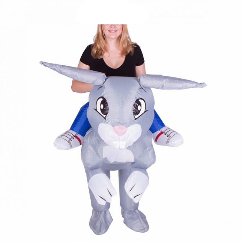 2018 Halloween Inflatable Rabbit Cosplay Costume Easter Bunny Blow Up Animal Farm Adult Fancy Dress Novelty Mascot Costume Adult