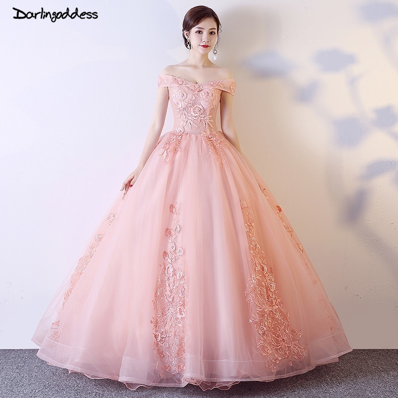 Robe de mariage Luxury Princess Wedding Dresses 2019 Ball Gown Blush Pink Black Flowes Lace Wedding Gowns with Short Sleeves