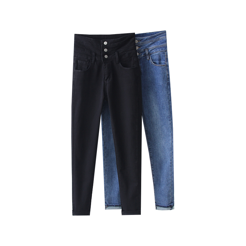 Jeans Woman Full Length Button Fly High Pockets Cashmere Keep Warm Fashion Korea Style