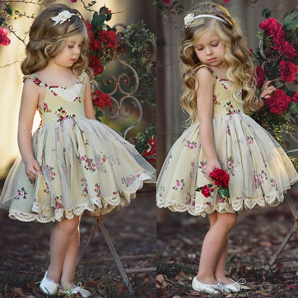 2018 Flower Girl Princess Dress Party Wedding Pageant Tulle Tutu Dress Sundress
