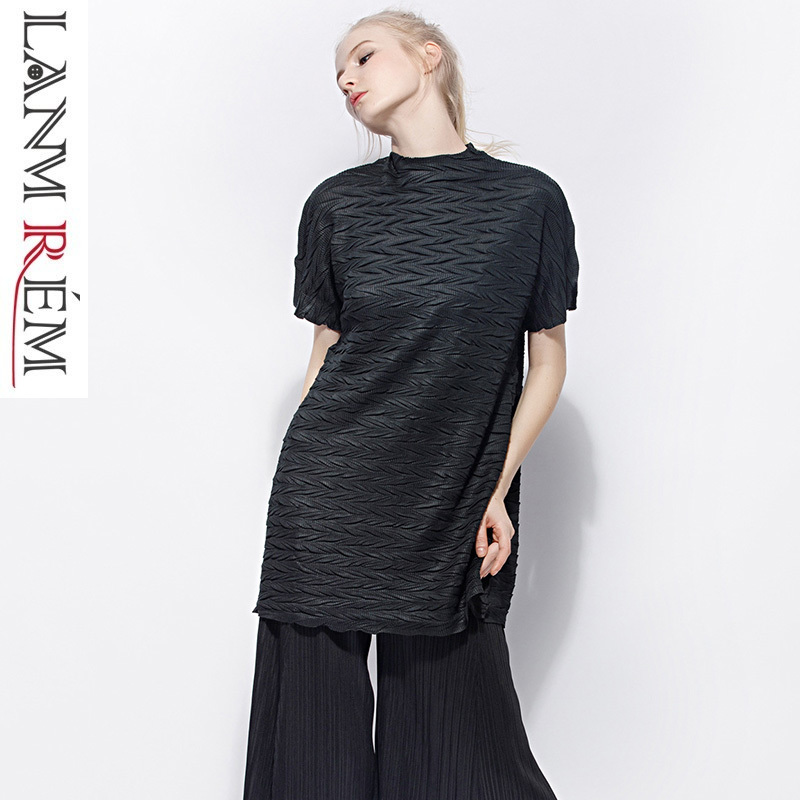 LANMREM High Quality Pleated Clothes For Women Casual Short Sleeve 2019 Summer Fashion New T-shirt Turtleneck Loose Tops NA915