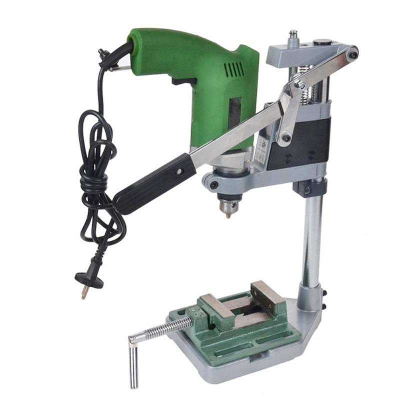 1# Soporte para prensa de taladro abrazadera de agujeros simples//dobles Soporte para prensa de taladro Herramienta de reparaci/ón de banco de trabajo para perforar base de aluminio