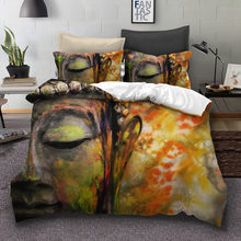 WAZIR 3D Buddha Printed Bedding Set 3pcs Duvet Cover set Pillowcases comforter bedding sets bed linen Buddhist India bedding(China)