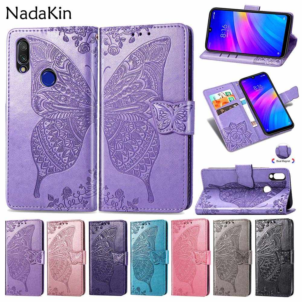 Butterfly Flower Embossed Book Leather Phone Case for Xiaomi Redmi 6A Go Note 5 Plus 6 Pro 7 Flip Wallet Cover Shell With Strap