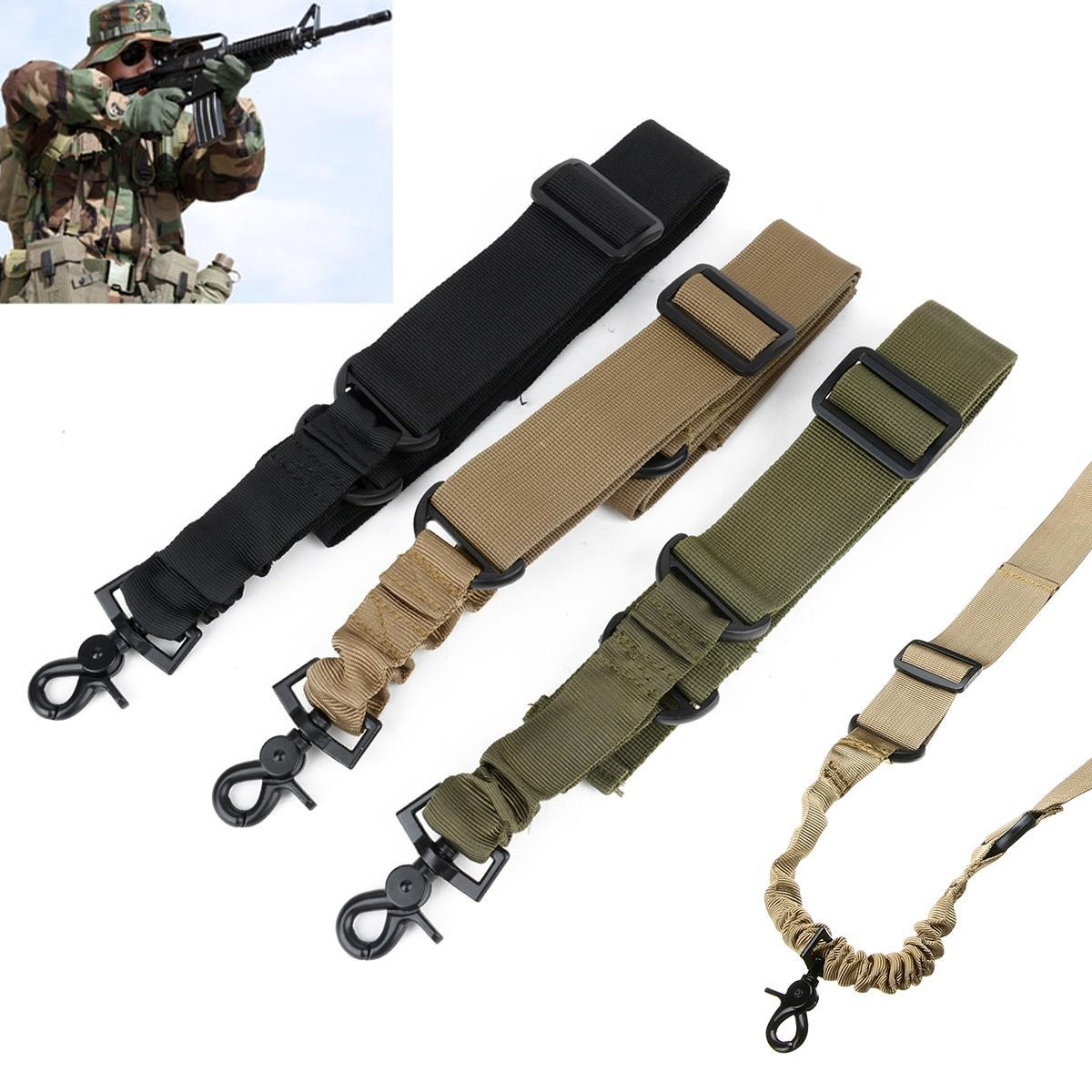 Adjustable Tactical Sling Strap Heavy Duty One Single Point Belt With D-ring