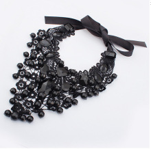 2019 New Women's 레이스 Necklace Black Lace Black Beads Retro Gothic 펜 던 트 액세서리 쇄골 목걸이(China)
