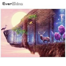 EverShine Diamond Embroidery Full Display Bear Paint With Diamonds Full Square Rhinestones Mosaic Forest Landscape Home Decor(China)