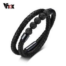 39718942aba1 Vnox negro para hombre pulsera de cuero genuino con energía de 2 capas trenzado  brazalete pulsera de moda Cierre magnético 7
