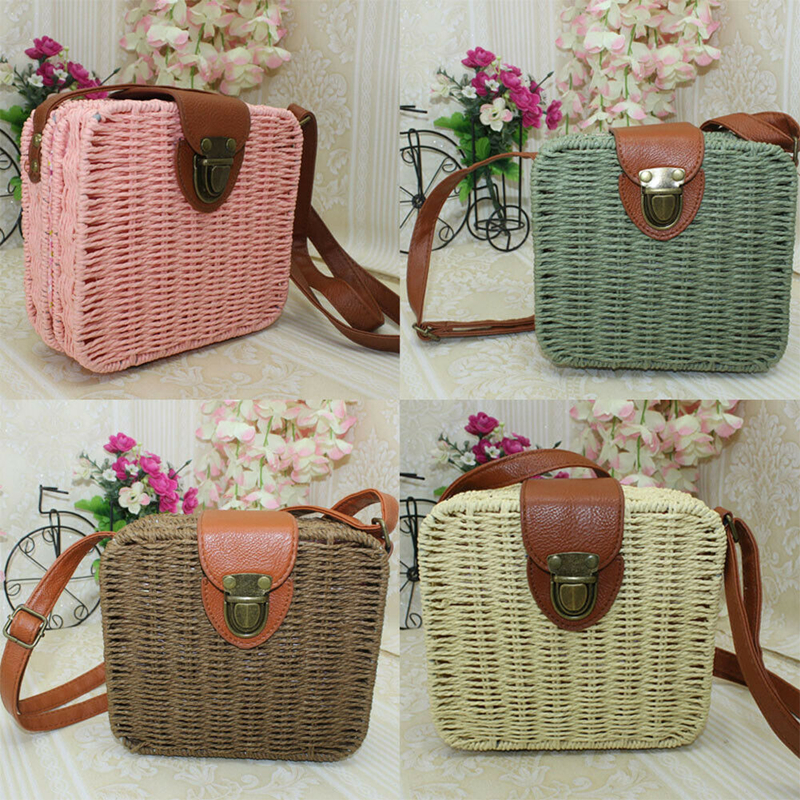 Hot New Women Girl Rattan Straw Bag Woven Square Handbag Crossbody Beach Summer Bags Female Beach Handbag Messenger Bags handbag