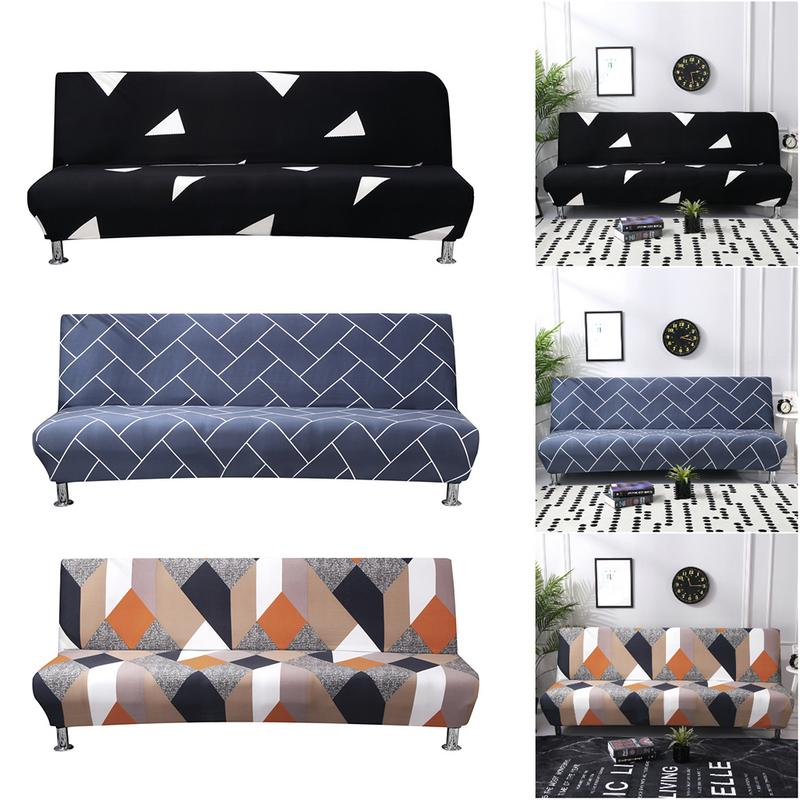 Armless Sofa Cover Stretch Slipcover Settee Folding Couch Futon Protector Grid