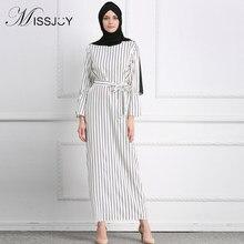 MISSJOY kleid Dubai Open Abaya Muslim Party dresses Women Kaftan Cotton  Striped Turkish Islamic Arab Women Costume Casual Wear 2b987f948703