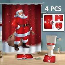 Bathroom Accessories Christmas Toilet Seat Cover Rug Set Printed Santa Waterproof Bath Shower Curtain Decorations
