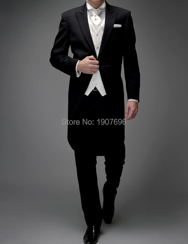 3 Piece Man Tail Coat for Formal Wedding Groomsmen Tuxedos 2019 Black and White Bespoke Suit 2019 Male Jacket Pants Vest