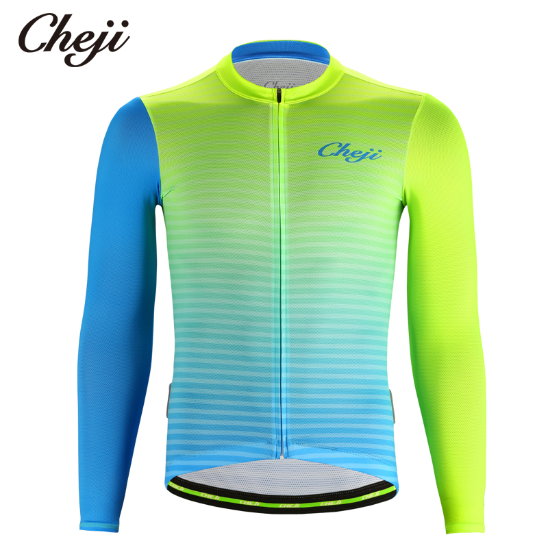 CHEJI 2019 Men\'s Long Sleeve Cycling Shirts Fluore...