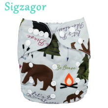 [Sigzagor]Baby Pocket Cloth Diaper Nappy Reusable Adjustable Washable Mcrofleece Inner 3kg-15kg 8lbs-36lbs(China)